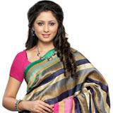 Vibrant Beige and Blue Coloured Bhagalpuri Silk Saree