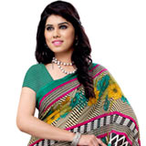 Classically Styled Multi-Coloured Renial Georgette Printed Saree