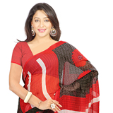 Breathtaking Red and Grey Coloured Chiffon Printed Saree