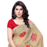Admirable Brown and Red Coloured Georgette Printed Saree
