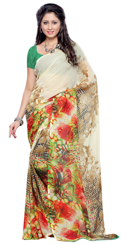 Attractive Beige and Brown Coloured Weightless Georgette Printed Saree