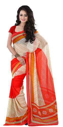 Attractive Georgette Printed Saree in Beige and Red Colour
