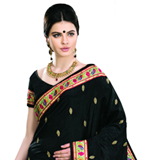 Appealing Black Coloured Dupion Saree with Multi-Coloured Motifs