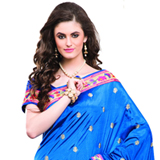 Impressionable Blue Coloured Dupion Saree with Multi-Coloured Motifs