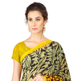 Arresting Black and Yellow Coloured Weightless Georgette Printed Saree
