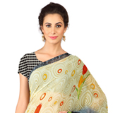 Charming Beige and Grey Coloured Weightless Georgette Digital Printed Saree