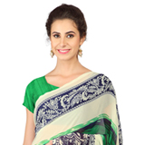 Admirable Green and Blue Coloured Weightless Georgette Floral Printed Saree