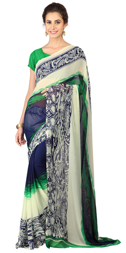 Appealing Green and Blue Weightless Georgette Floral Printed Saree