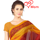 Appealing Red and Yellow Coloured Georgette Printed Saree