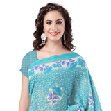 Admirable Sky Blue Coloured Weightless Georgette Printed Saree
