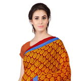 Admirable Orange Shaded Weightless Georgette Floral Printed Saree
