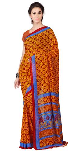 Chic Orange Coloured Weightless Georgette Floral Printed Saree