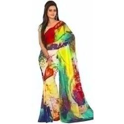 Admirable Multi Coloured Georgette Printed Saree