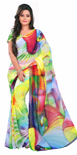 Comfy Digital Printed Multicoloured Georgette Saree