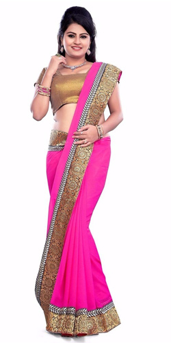 Amazing Georgette Printed Saree in Pink