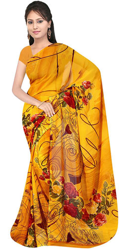 Charismatic Suredeal Georgette Printed Saree Collection