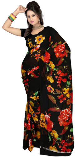 Fascinating Faux Gorgette Printed Saree