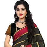Reviving Black Cotton Silk Printed Saree