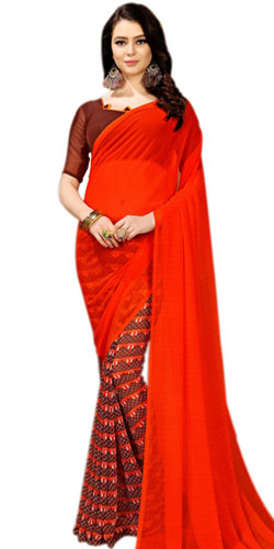 Multi-color Faux Chiffon Printed Saree for Ladies