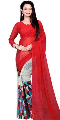 Outstanding Faux Chiffon Printed Saree in Red Color