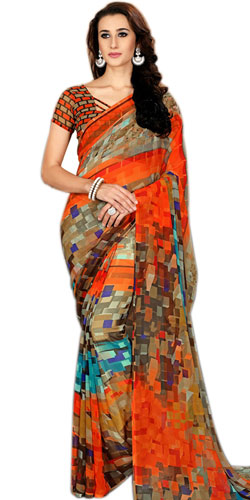 Designer Abstract Print Saree in Faux Chiffon Fabric<br>