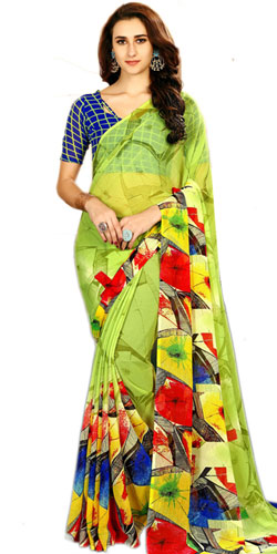 Impressionable Green Color Faux Chiffon Saree for Women