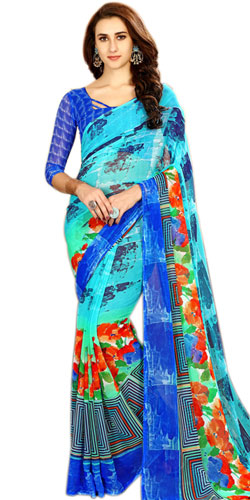 Smart-Looking Chiffon Party-wear Saree in Blue Color