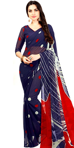 Marvelous Navy Blue and Red Color Chiffon Sari for Ladies