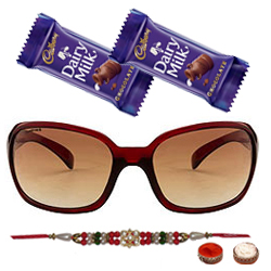 Amazing Oval Shaped Sunglasses with a Maroon Grey Body from Fastrack for Men with One Rakhi and Chocolates and Roli Tilak Chawal