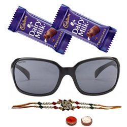 Appealing Hot Summer Gents Sunglasses from Fastrack with One Rakhi and Chocolates and Roli Tilak Chawal