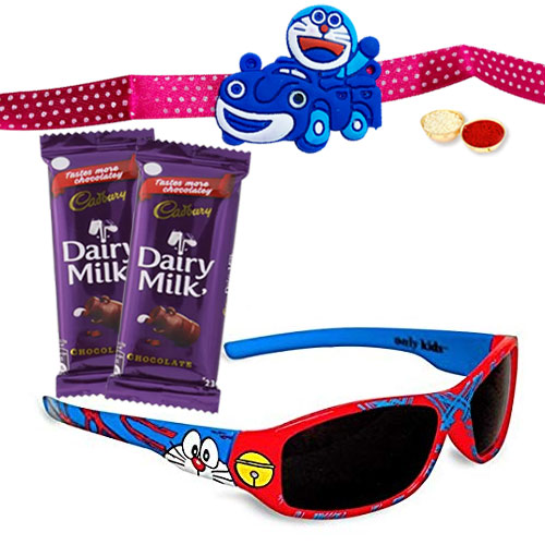 Pepping Mind Doraemon Sunglasses With Doremon Rakhi n 2 Cadbury Dairy Milk Chocolate and Roli Tika Chawal