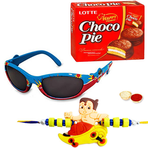 Conveying Adoration Doraemon 2D Sunglasses with Kids Rakhi n Chocopie Box and Roli Tika Chawal