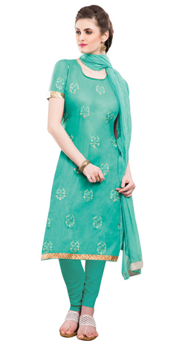 Extravagant Chiffon Cotton Embroidered Salwar Kameez in Green