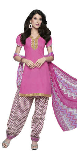 Attractive Cotton Printed Patiala Suit in Pink