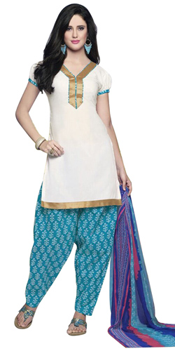 Arresting Pure Cotton Printed Patiala Suit in White Colour