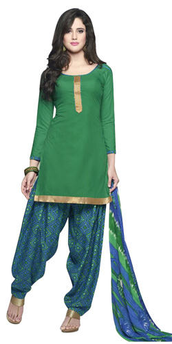 Charming Pure Cotton Patiala Suit in Deep Green Colour