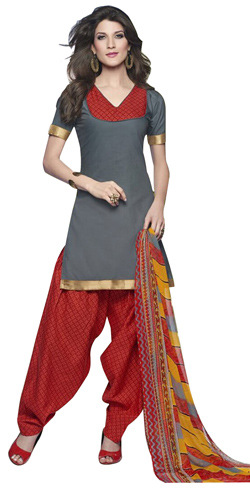 Chic Grey and Red Cotton Printed Patiala Suit