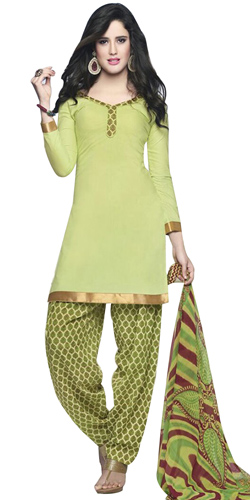 Exclusively Light Green Cotton Printed Patiala Suit