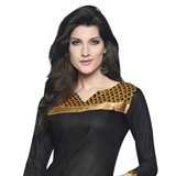 Amazing Black and Yellow Coloured Cotton Printed Patiala Suit
