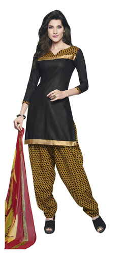 Arresting Black and Yellow Coloured Cotton Printed Patiala Suit