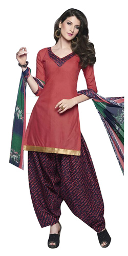 Charming Pink and Blue Cotton Printed Patiala Suit