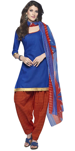 Admirable Blue and Red Coloured Cotton Printed Patiala Suit