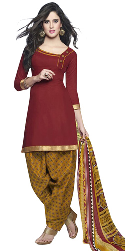 Beautifully Coloured in Red and Yellow Cotton Printed Patiala Suit
