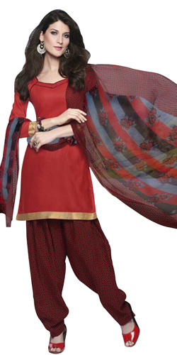 Smashing Red and Maroon Coloured Cotton Printed Patiala Suit