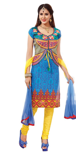 Enticing Cotton Printed Salwar Suit in Multicolour