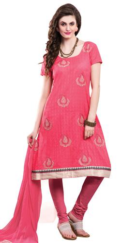 Attractive Chiffon Embroidered Salwar Kameez in Pink