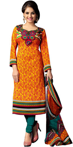 Remarkable Art Silk Printed Suit in Multi Colour