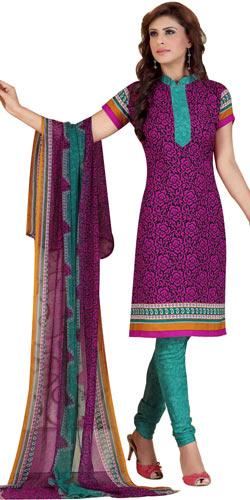 Lovely Siya Women's Crepe N Chiffon Printed Salwar Suit
