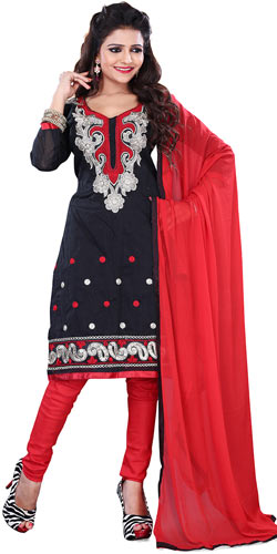 Suave Women's Cotton Printed Salwar in Black Colour
