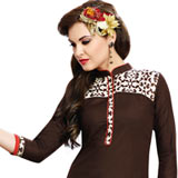 Smashing Cotton Printed Suit of Brown Colour Selection